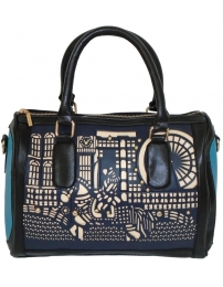 Pattern tote blue