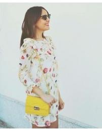 Lima limão vestido solto floral